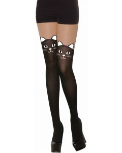 Forum Halloween Black Cat Printed Stockings, Black, One-Size 6-14