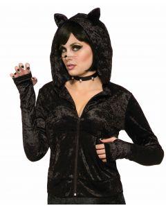 Forum Halloween Sexy Black Cat Velvety Costume Hoodie, Black, One-Size 6-14