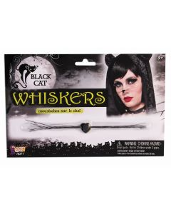 Forum Halloween Sexy Black Cat Whiskers Costume Accessory, Black, One-Size