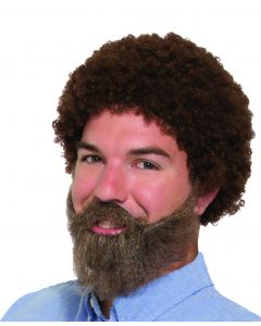 80's Curly Afro Wig, Beard & Moustache Men Costume Accessory Set, Brown