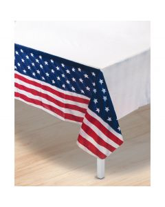 "Patriotic Table Cover 54""x108"" Plastic Tablecover, Red White Blue"