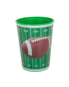Forum Football Field Game Day Reusable Plastic 16oz Party Cup, Green Brown