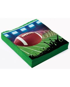 "Forum Football Party Field Goal 10"" Beverage Napkins, Green Brown, 16 Pack"