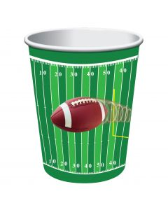 Forum Football Over Field 9 oz Paper Cups, Green Brown, 8 Pack