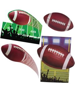"Forum Football Superbowl Party Decorative 4pc 15"" Cutouts, Green Brown"