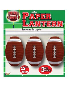 Forum Football Game Day Sunday Party Paper Lantern, White Brown, 3 Pack