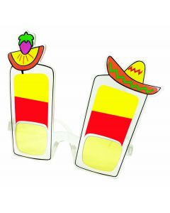 Fiesta Cinco De Mayo Party Novelty Glasses, Red Yellow Orange, One-Size