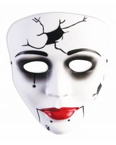 Forum Halloween Haunted Doll Cracked Face Mask, White Black, One-Size