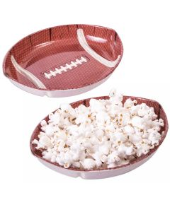 """Football Game Day Sunday Party plastic 6.75""""x7.5"""" Serving Tray, Brown White"""