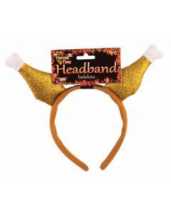 "Thanksgiving Roasted Turkey Leg Drumsticks Headband, Brown, One-Size 6.5"" x 9.5"""