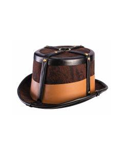 Forum Steampunk 19th Century Top Hat, Brown Black Beige, One-Size