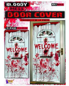 "Forum Halloween Scary Horror Bloody Handprints 60""x30"" Door Cover, White Red"