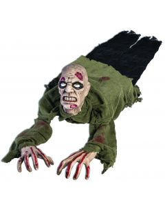 "Forum Halloween Scary Dead Crawling Zombie 36.5"" Animated Prop, Green Black"