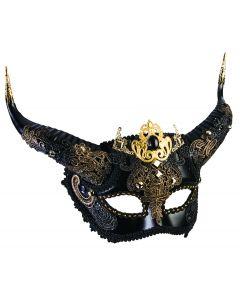 Forum Mythical Creatures Elegant Faun Half Mask, Black Gold, One-Size