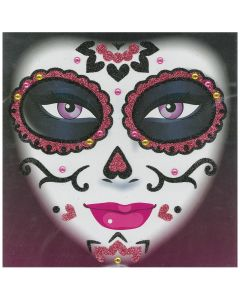 Forum Day of the Dead Face Glitter Adult Temporary Tattoo, Pink Gold