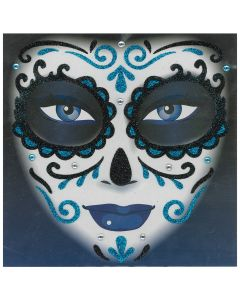 Forum Day of the Dead Face Glitter Adult Temporary Tattoo, Blue Black