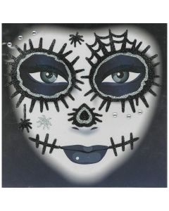 Forum Day of the Dead Face Glitter Adult Temporary Tattoo, Black Silver