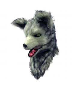 Forum Wolf Deluxe Moving Mouth Faux Fur Full Head Mask, Grey White, One-Size