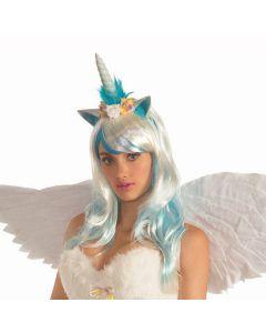 Forum Mystical Unicorn Headpiece w/ Flowers, Sky Blue, One-Size