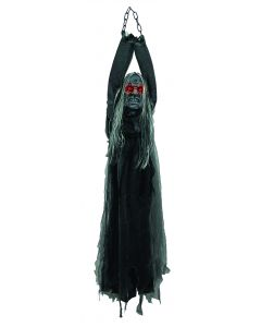 Forum Female Hanging Zombie Haunted House Decor 5' Animated Prop, Black Grey