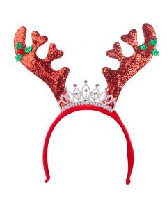 Holiday Christmas Royal Reindeer Antler Headband, Red Green, One-Size 12""