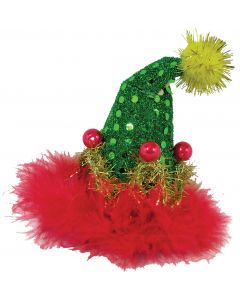 """Forum Mini Christmas Tree Holiday Tinsel Hair Clip, Green Red, One-Size 5"""" T"""