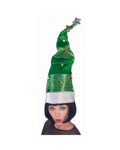 "Long Christmas Tree Bendable Hat Party Hat, Green Red White, One-Size 28"" Tall"