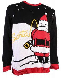 Santa Pee Break Funny Ugly Christmas Sweater, Black Red, Large Chest 42