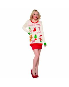Merry Christmas Drawn Bad Ugly Christmas Sweater, White Red, X-Large Chest 46
