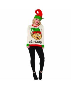 Funny Elfed Up Ugly Christmas Sweater, White Red, Medium Chest 38