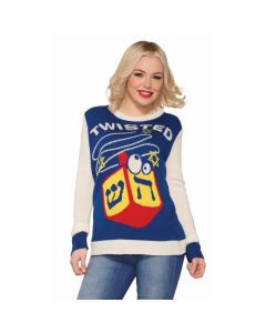 Forum Happy Hanukkah Twisted Dreidel Ugly Holiday Sweater, Blue White, X-Large
