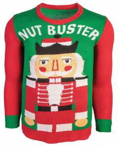 Funny Nut Buster Ugly Christmas Sweater, Red Green, X-Large Chest 46