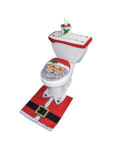 Santa Toilet Christmas Holiday 4pc Standard Bathroom Decor Set, Red Green
