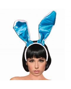"Satin Color 9.5"" Tall Easter Bunny Ears Headband, Blue, One-Size"
