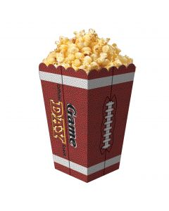"""Football Game Day Party Container 7""""x6.5"""" Popcorn Boxes, Brown White, 6 Pack"""