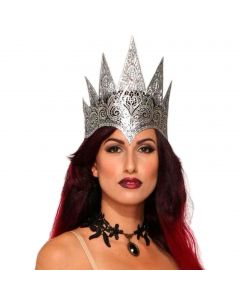 Forum Dark Royalty Lace Queen Reversible Costume Crown, Silver Black, One-Size