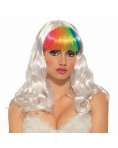 Forum Colorful Bright Unicorn Shoulder Length Wig, White Rainbow, One-Size