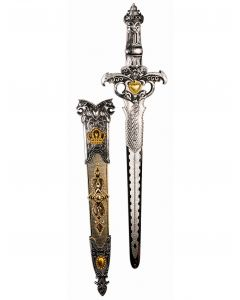 Forum Deluxe Medieval Knight Costume Sword w Sheath, Gold Silver, One-Size