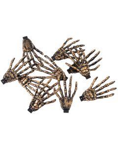 "Forum Creepy Crawly Skeleton Hands 3"" Decoration Prop, Gold Black, 10 Pack"