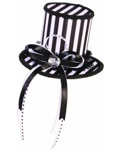 Forum Mystery Circus Hair Clip Top Mini Hat, White Black, One-Size