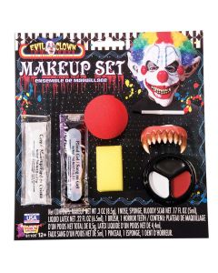 Forum Evil Clown Red Nose 7pc .8 oz Makeup Kit, Red White Black