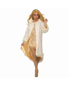 Forum Deluxe Vintage Hollywood Faux Fur Costume Coat, White Gold, One-Size