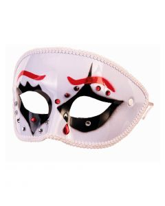 Forum Mystery Circus Halloween Costume Full Half Mask, White Red Black, One-Size