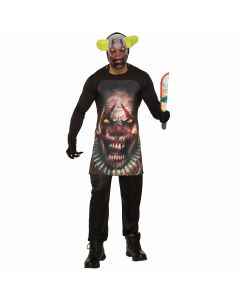 Forum Evil Clown Apron & Mask 2pc Adult Costume Accessory Set, Black, One-Size