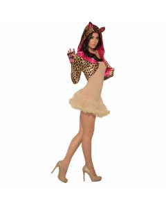 Forum Comfortable Leopard Costume Shrug, Tan Brown Pink, One-Size