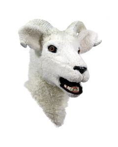 Forum Moving Jaw Ram Mascot Cosplay Full Head Mask, White Black, One-Size