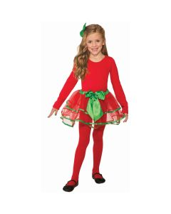 Girls Christmas Themed Extra Poofy Tutu Skirt, Red Green, One-Size