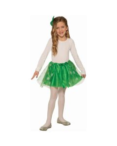 Girls Christmas Themed Extra Poofy Tutu Skirt, Green Gold, One-Size