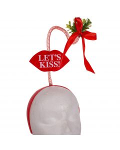 "Christmas Let's Kiss Under The Mistletoe Headband, Red Green, One-Size 19""T"