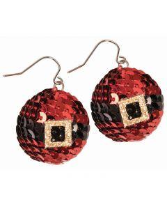 Christmas Season Festive Santa Pants Accessory Earrings, Red Black, One-Size
